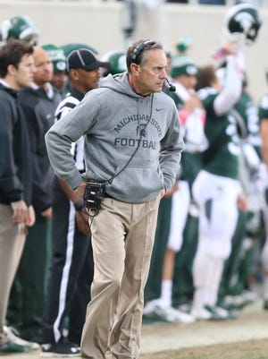 Michigan State Spartans head coach Mark Dantonio on the sidelines during second half action against the Indiana Hoosiers Saturday, October 24, 2015 at Spartan Stadium in East Lansing.