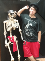AJ Emlund poses with a friend as they prepare for the