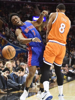 Mar 14, 2017; Cleveland, OH, USA; Cavaliers forward Channing Frye fouls Pistons forward Stanley Johnson during the first half at Quicken Loans Arena.