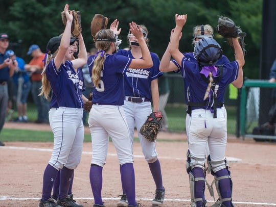 Bronson rallies between innings at state semi-finals.