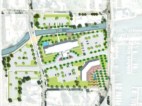 Artist rendering of proposed King Station in downtown. City officials have tapped Vero Beach developer Keith Kite to build a Hampton Inn, restaurant, shopping plaza and parking lot at the former H.D. King power plant between Second Street and Indian River Drive.