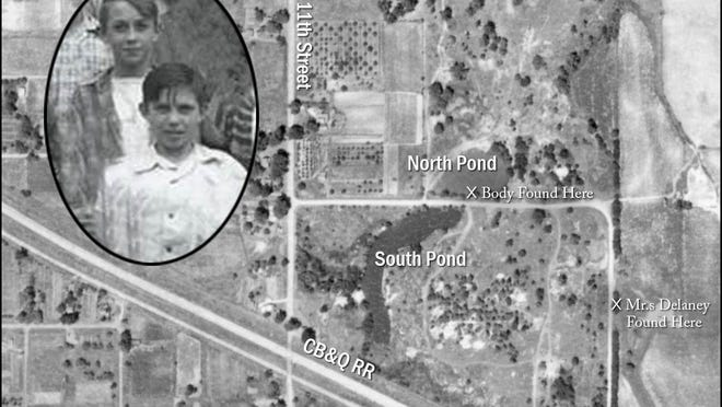 An aerial photo of the former 3M plant from the 1940s shows the south pond, where a group of Monmouth boys went fishing, and the north pond, where two of them discovered the body of a strangled murder victim. Inset: Tommy Smith (foreground), who first spotted the body of Eldon Belt, and Frank Galusha, who threw rocks at the body, in a sixth grade class photo.