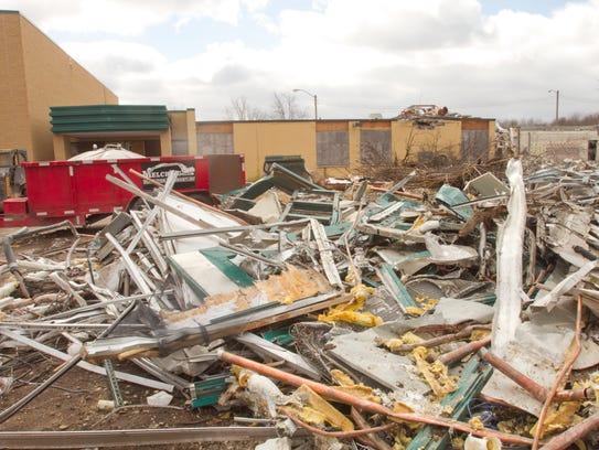 A demolition crew takes down the former Hamburg Elementary