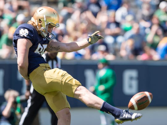 Tyler Newsome is Notre Dame's first punter to be voted a team captain.