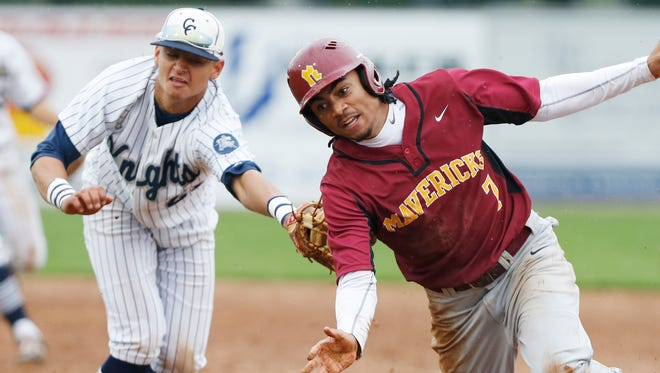 McCutcheon's Billy Loft gets caught in a run down and is tagged out by Central Catholic first baseman Anthony Berumen in the top of the seventh inning Monday, May 9, 2016, at Central Catholic. CC beat McCutcheon 5-4 in nine innings.