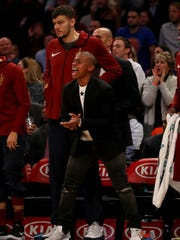 Isaiah Thomas of the Cleveland Cavaliers celebrates