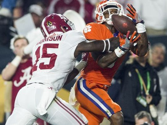 As a freshman, Ronnie Harrison prevented a touchdown in Alabama's 45-40 win over Clemson to win the 2015 national championship.