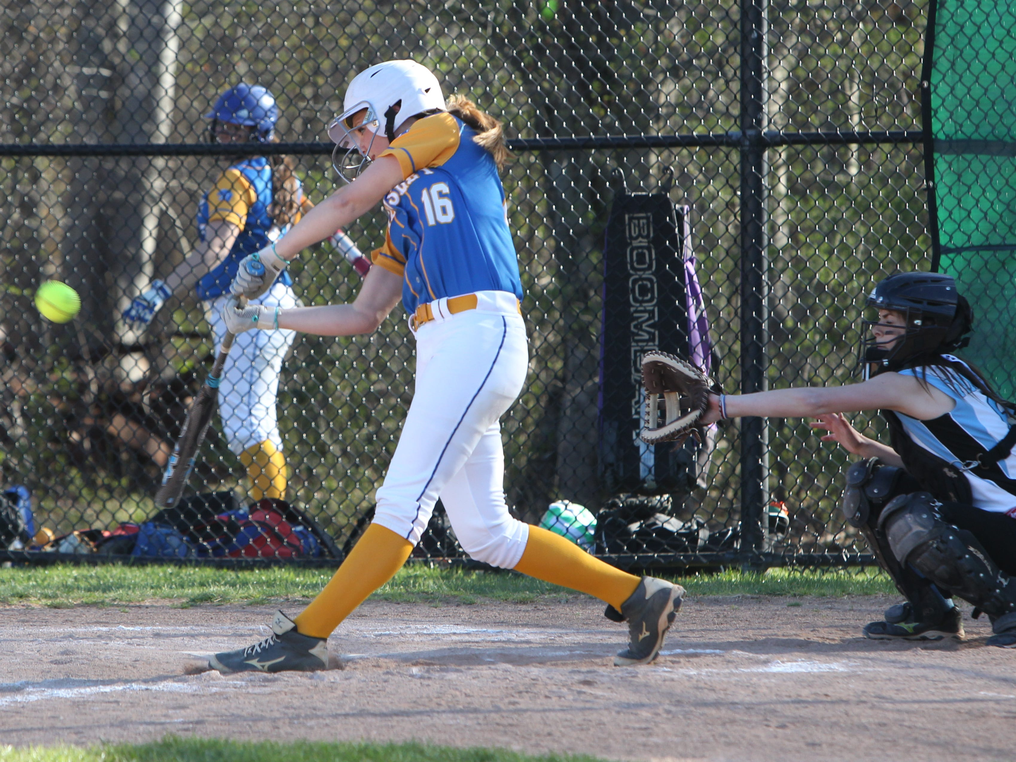 Ardsley's Raina Gorman connects during a game at Rye Neck April 28, 2015. Ardsley won 1-0.