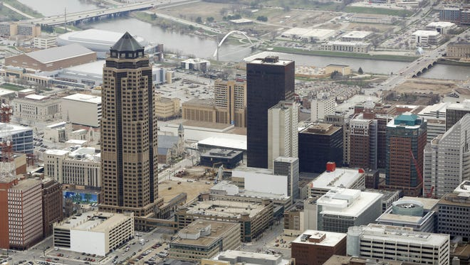 An aerial view of downtown facing east March 30, 2016, in Des Moines.