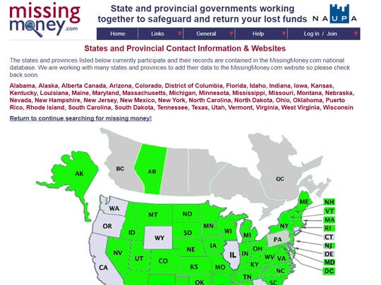 The missingmoney.com web site ties most of the state
