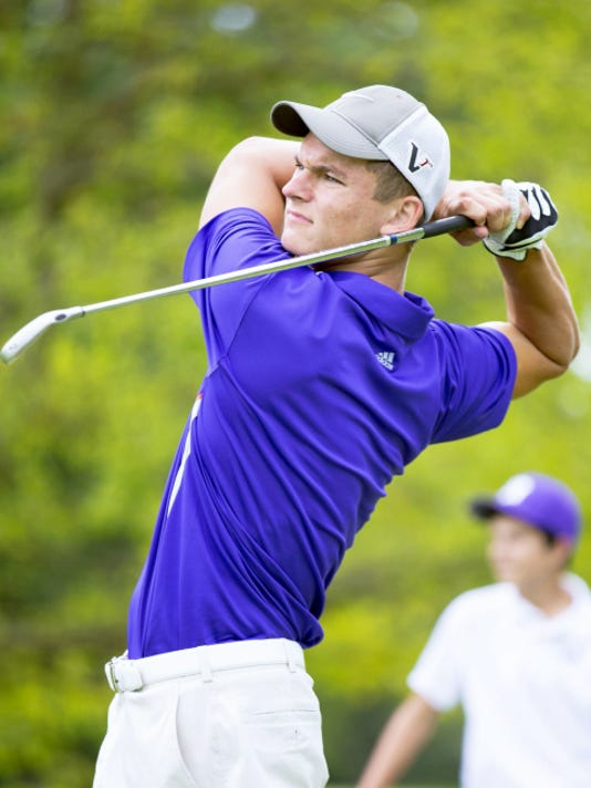 Michael Gruver, of New Oxford High School, finishes his swing at the Hanover Country Club during Monday's York County Junior Golf Association competition. Gruver placed second in the blue division with a score of 73, falling in a playoff hole to Eastern York's Kevin Crumbling.