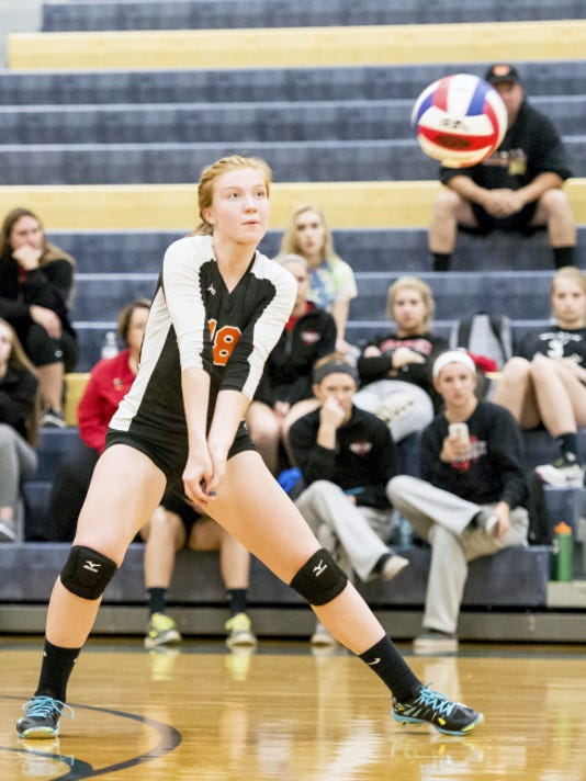 Palmyra's Rachel Hutchinson (18) reaches for a dig against Southwestern in a District 3 volleyball playoff match at Penn Manor High School on Saturday, Oct. 31, 2015. Jeff Lautenberger Ñ For GameTimePA.com