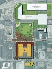 A rendering from a 2014 downtown Green Bay action plan suggests replacing the Adams Street surface parking with a building, demolishing Baylake City Center and turning it into a public green space.