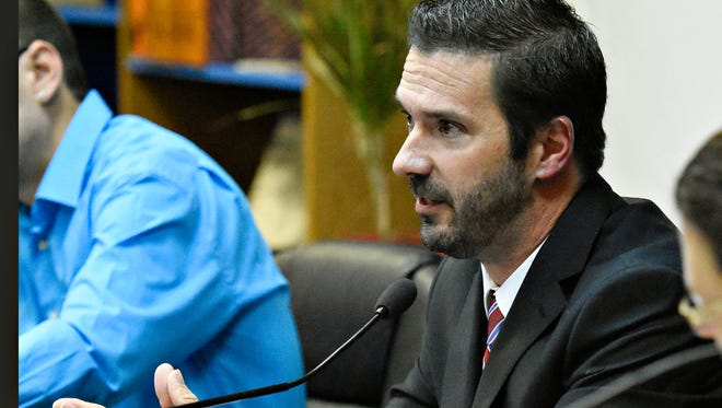 Councilman Shawn Mauck speaks during the West York Borough Council meeting in West York Borough, Monday, Oct. 17, 2016. The borough would later accept Mayor Charles Wasko's resignation. Dawn J. Sagert photo