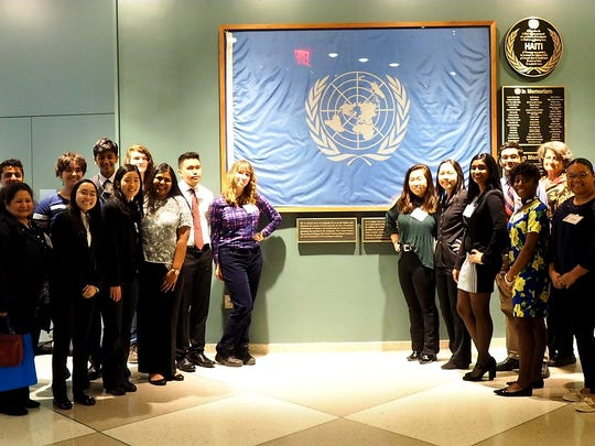 SCVTHS students and instructors at the United Nations Headquarters in New York City include (left to right) Guillermo Reina, Daysi Lakhlif, Ayush Shah of Raritan, Brianna Broderick of Flemington, Elizabeth Dietrich of Green Brook, Nikhil Patel of Franklin Park, Catherine Chen of Warren, Daniel Stracquadaine of North Plainfield, Anjana Nair of Franklin Park, Matthew Natividad of Somerset, Novena Petryk of Manville, Lily Chang  of Hillsborough, Kristine Chin of Hillsborough, Sandra Raju of Hillsborough, Rahul Ubriani of Somerset, Madison Pitts of South Bound Brook, Ann Griswold, Ariel Smith  of Franklin Park, Brian Coletta of Green Brook, Rafael Catalán and Teresa Morelli.