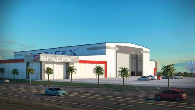 Concept image of a hangar SpaceX plans to build at Kennedy Space Center for the storage and refurbishment of Falcon rocket boosters and payload fairings.