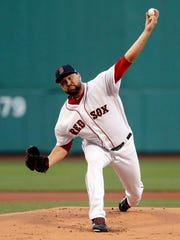 Boston Red Sox starting pitcher Brian Johnson (61)