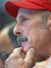 Farmer Tom Marston, of Pittsfield, N.H., listens during the Milk Producers Emergency Relief Fund Board meeting, Monday, Oct. 3, 2016, in Concord, N.H. The board is trying to see what can be done quickly as farmers struggle with low milk prices and drought conditions. Nineteen of the state's 120 dairies have closed in recent months.