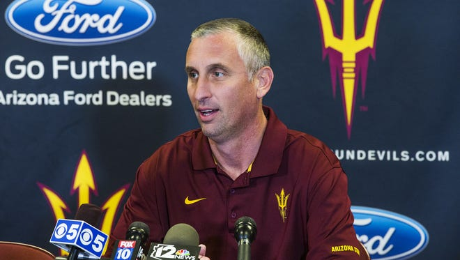 Arizona State University men's basketball head coach Bobby Hurley speaks to the media at Wells Fargo Arena, Thursday, May 21, 2015.