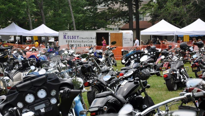 """Bikes lined up for the Kelsey Charity Run, an annual motorcycle event to raise money for children with cancer. The organization's """"Winter Break Party"""" for Sadie Ally is on Saturday, March 11."""