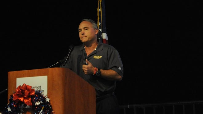 Southern Miss coach Jay Hopson delivers a heart-felt message during Sunday's FCA Breakfast at the Shreveport convention Center.