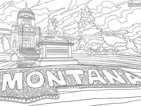 """A coloring page from the """"Montana Coloring Book"""" depicts"""