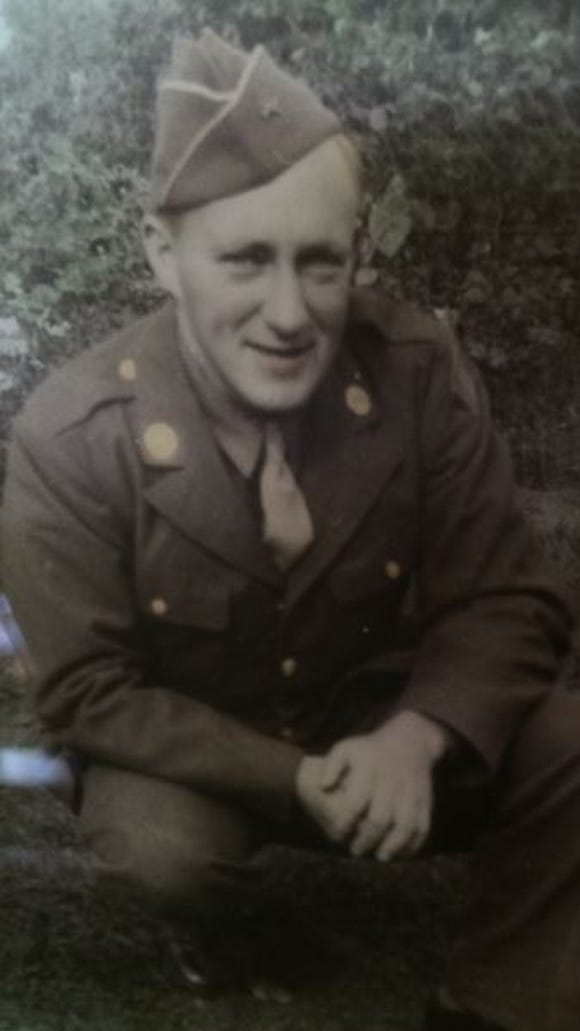 "Pfc. Wayne Clark crossed into Germany with the ""Rolling W"" 89th Division on March 11, 1945."