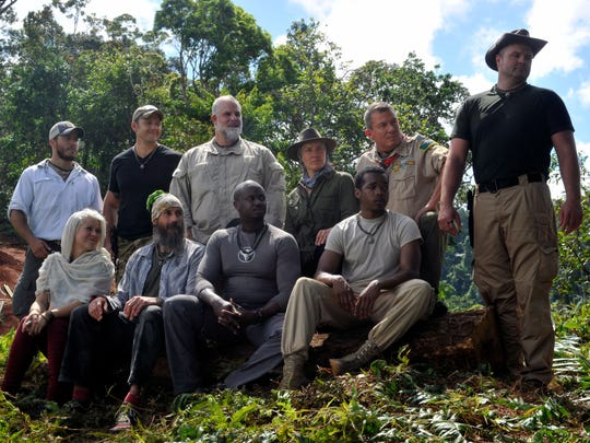"Shown are the survivalists in the all-new ""Welcome to the Jungle"" series premiere episode of ""Kicking and Screaming,"" which airs at Thursday, March 9 (9:01-10:00 PM ET/PT), on FOX. Back row in black shirt is Ben Domian of Oviedo, a SERE specialist with the 920th Rescue Wing at Patrick Air Force Base."