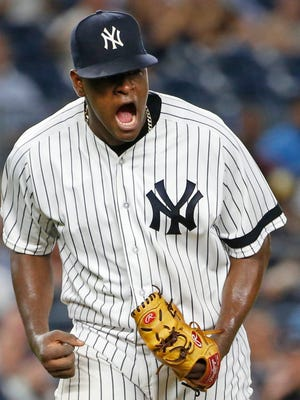 New York Yankees starting pitcher Luis Severino reacts after Tampa Bay Rays Corey Dickerson struck out with two runners on base for the third out during the third inning of a baseball game in New York, Wednesday, Sept. 27, 2017. (AP Photo/Kathy Willens)