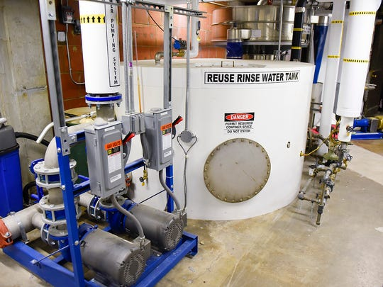 Large washing machines now uses reclaimed water from final rinse Thursday, June 8, at the St. Cloud VA Health Care System.