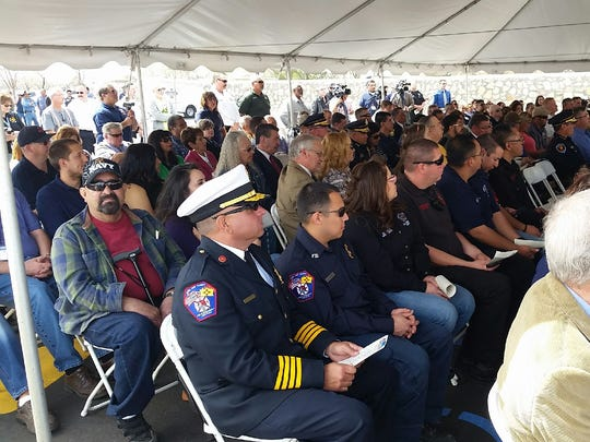 A crowd of several hundred people gathered March 4 to celebrate a ribbon-cutting for a new 911 call center, located at 911 Lake Tahoe Court off north Motel Boulevard in Las Cruces.