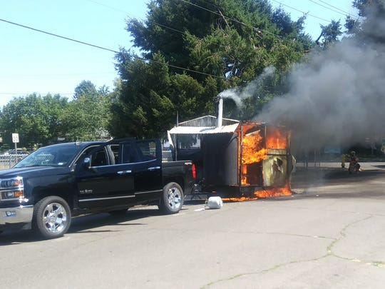 Squatchy's BBQ trailer caught flame on Sunday, July