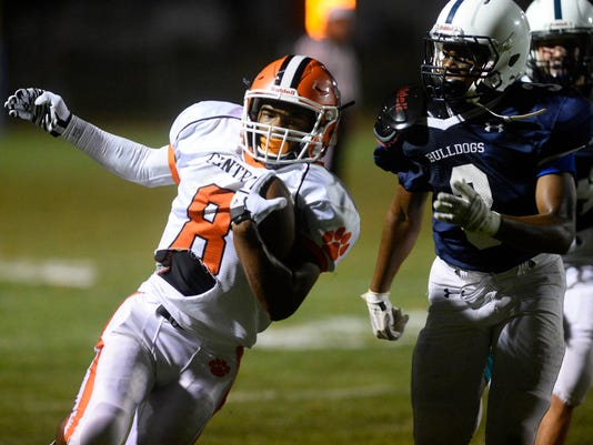 Central York's Shyheim Goff runs past the defense of West York. Central York's game against Southwestern has been pushed to 6 p.m. tomorrow night.
