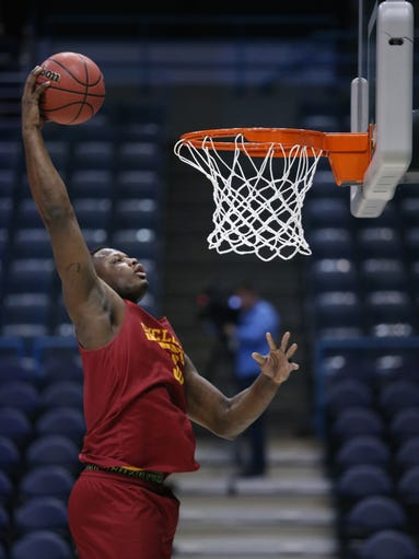 Iowa State's Deonte Butron dunks the ball during Iowa