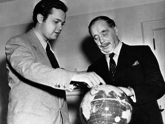 Orson Welles, left, photographed with Mr. H.G. Wells,