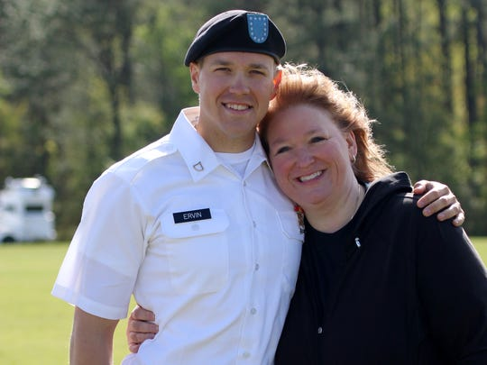Derek and Deanna Ervin at his graduation from Army basic training in April 2017.