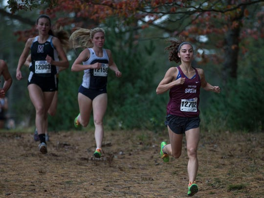 Shore conference cross country championships held at Ocean Couny Park. Girls winner Jade Tricomy of Toms River High School South. Lakewood, NJWednesday, October 26, 2017@dhoodhood