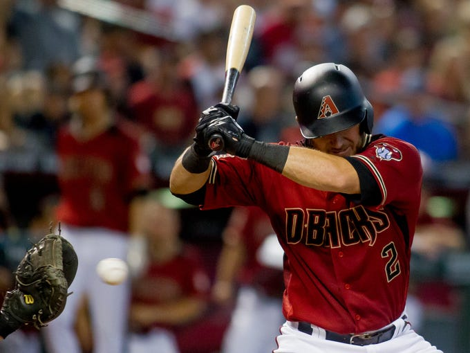 Arizona Diamondbacks catcher Jeff Mathis misses a ball