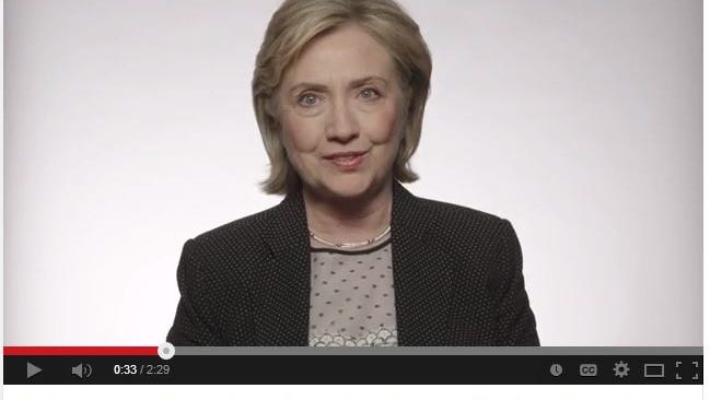 A screen shot from former U.S. Secretary of State Hillary Clinton's speech to Iowa activists on Friday night.