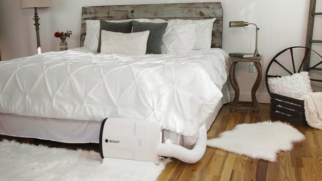 The Bedjet heats up — and cools off — your bed by blowing temperature-controlled air between the sheets.