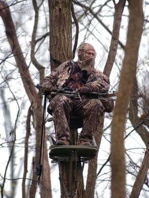An Indiana hunter in a tree stand.
