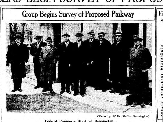 National Park Service landscape architects met with Vermont state officials and Parkway proponents in Bennington in April, 1934, to begin surveying the route for the Green Mountain Parkway. Col. William Wilgus on the left, and Laurie Davidson Cox on the right. They are seen in a Burlington Free Press article on April 5, 1934.