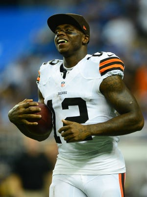 Aug 9, 2014; Detroit, MI, USA; Cleveland Browns wide receiver Josh Gordon (12) against the Detroit Lions at Ford Field.