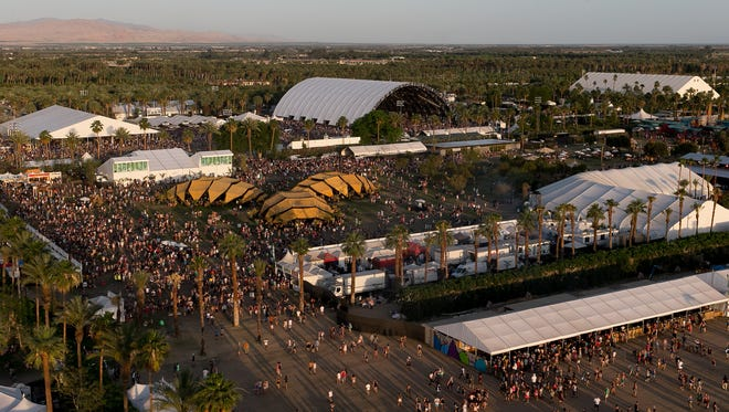 A view of the festival grounds is photographed from the Ferris Wheel during Coachella Valley Music and Arts Festival Weekend 2 held at Empire Polo Club in Indio on Saturday, April 19, 2014.