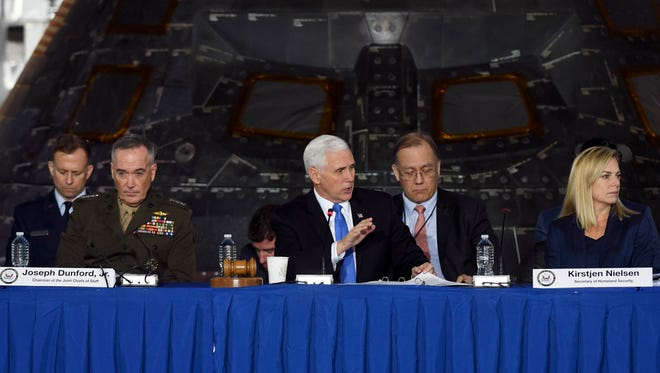 Vice President Mike Pence chairs a meeting of the National Space Council Wednesday, Feb. 21, 2018 at Kennedy Space Center, FL
