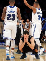 Butler Bulldogs guard Alex Barlow (3) reacts after missing a shot at the final buzzer of the game against the Seton Hall Pirates during the second half in the first round of the Big East tournament at Madison Square Garden.