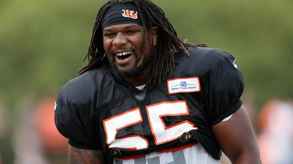 Cincinnati Bengals linebacker Vontaze Burfict was all smiles after a play during training camp downtown. The Enquirer/Jeff Swinger