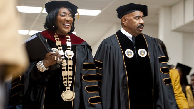 Alabama State University President Gwendolyn Boyd and Steve Harvey at the Alabama State University Commencement Exercises on the ASU campus in Montgomery, Ala., on Saturday May 7, 2016.