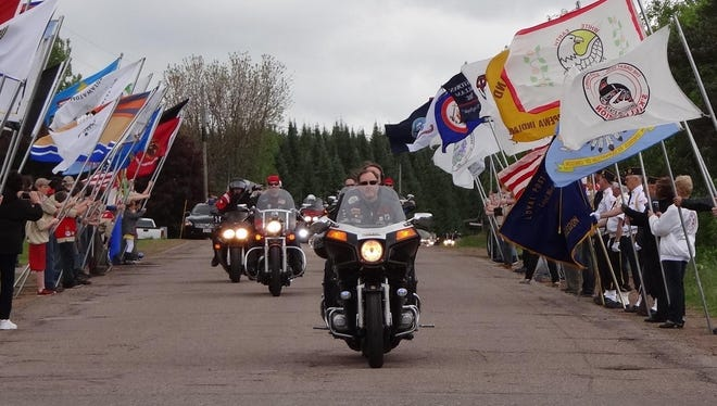 More than 140 Honor Ride bikers paraded into The Highground Veterans Memorial Park on May 27.