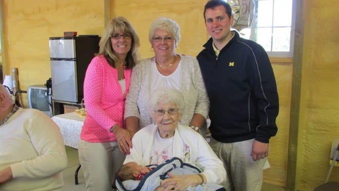 Five generations of Rolland James West's family recently gathered for a photo, on the occasion of his great-grandparents' 50th wedding anniversary. Pictured are grandmother Angie West, great grandmother Linda Wessel, both of Fort Gratiot; and father Jamie West of Burtchville Township. Holding Rollie is his great-great-grandmother, Twila Budinger of Port Huron.